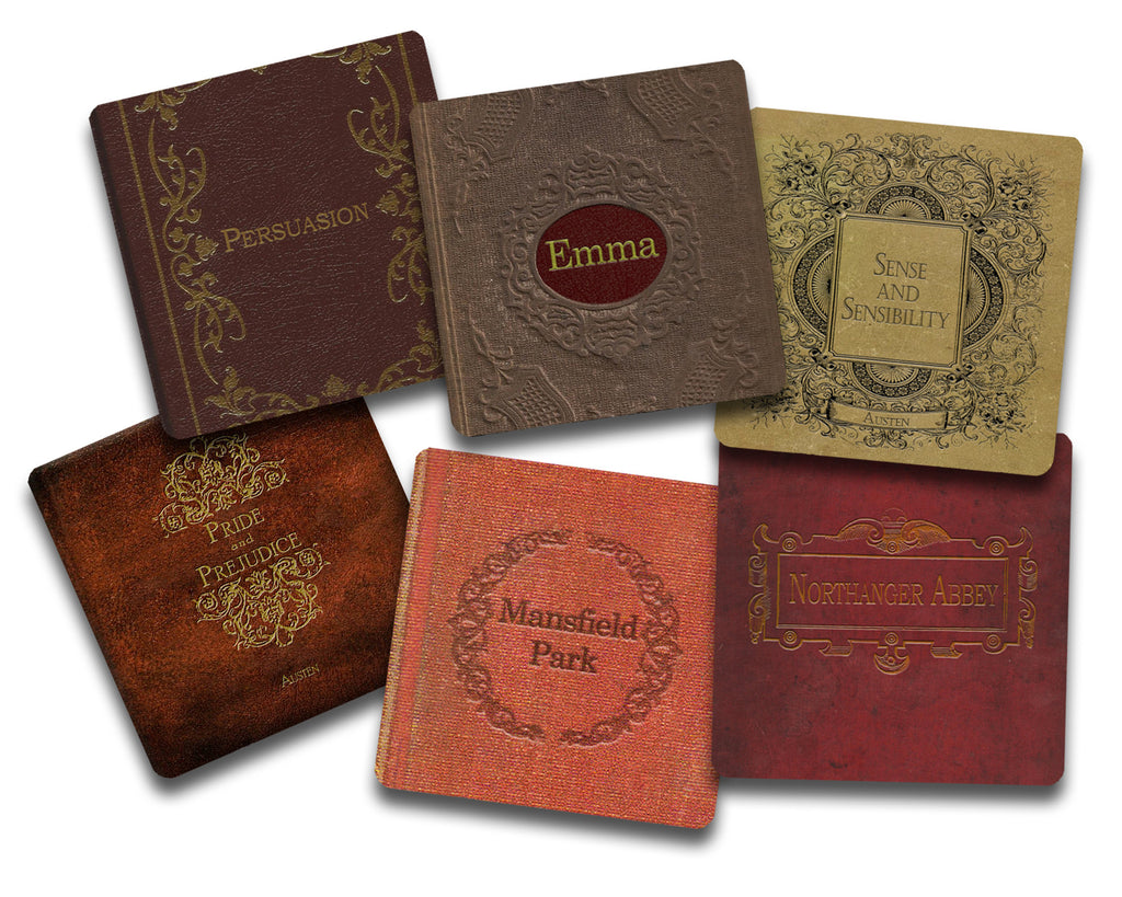 Jane Austen Books Coaster Set - Neoprene 6 Piece Set