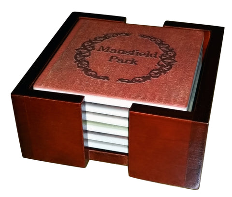 Jane Austen Novels Tile Coaster Set - 6 Piece Set - Holder Included