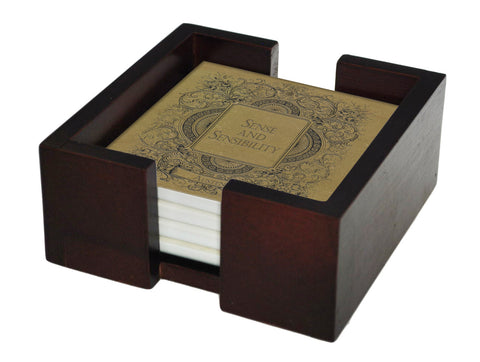 Jane Austen Novels Coaster Set - Sandstone Tile 4 Piece Set - Holder Included