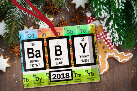 Baby Periodic Table of Elements Glass Christmas Ornament