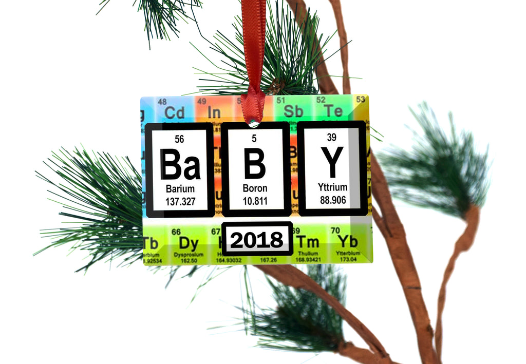 Baby Periodic Table Of Elements Glass Christmas Ornament Neurons