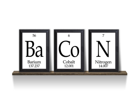 "Bacon Periodic Table Framed 3 Piece Wall Plaque Set Each Plaque 5"" x 7"""