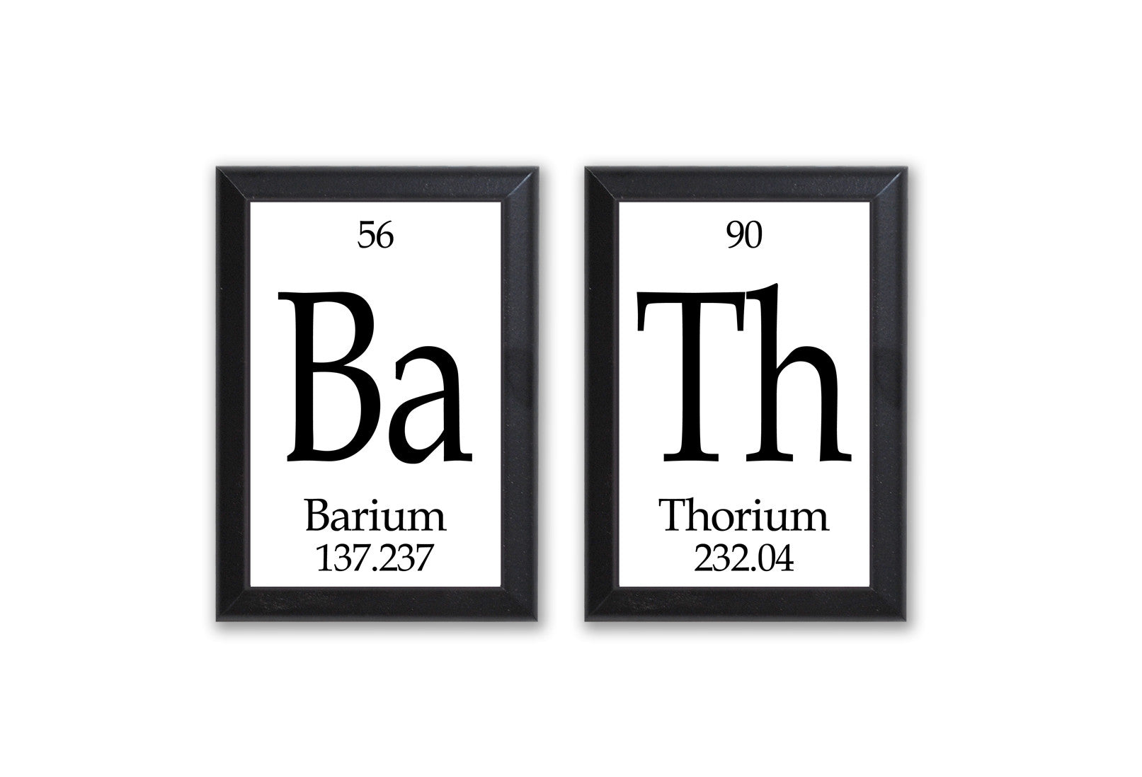 Bath Periodic Table Framed 2 Piece Wall Plaque Set Geeky Home