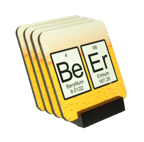 Beer Periodic Table Coasters with Display Holder