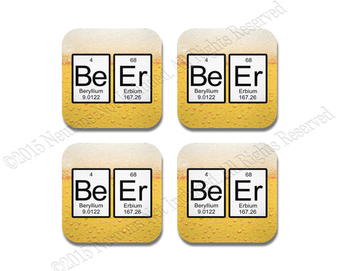Periodic Table Beer Coaster Neoprene 4 Piece Set