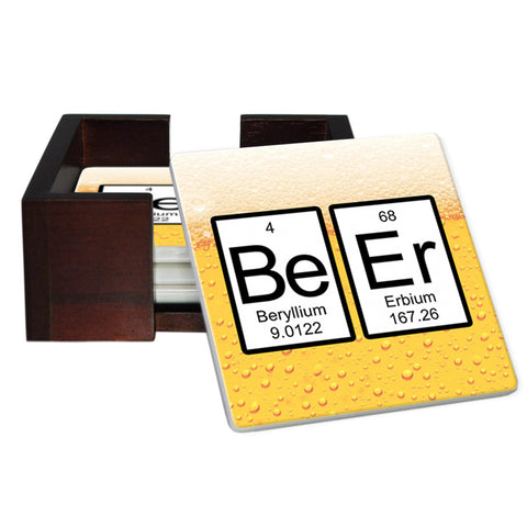 Beer Periodic Table of Elements Coaster Set - Tile 4 Piece Set - Caddy Included