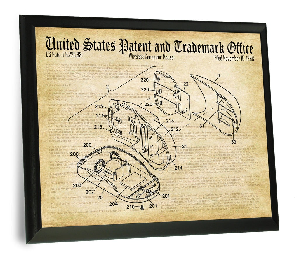 "Computer Mouse Patent Trademark Drawing- 9"" x 12"" Wood Plaque"