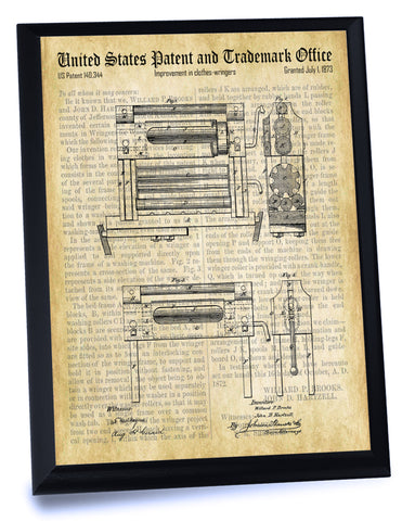 Clothes Wringer Patent- Historic Laundry Room Patents Series