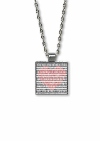 Binary Heart - 1 inch Square Pendant Necklace