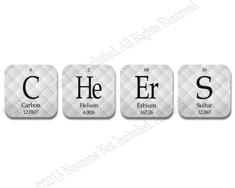 Periodic Table Cheers Science Coasters Neoprene 4 Piece Set