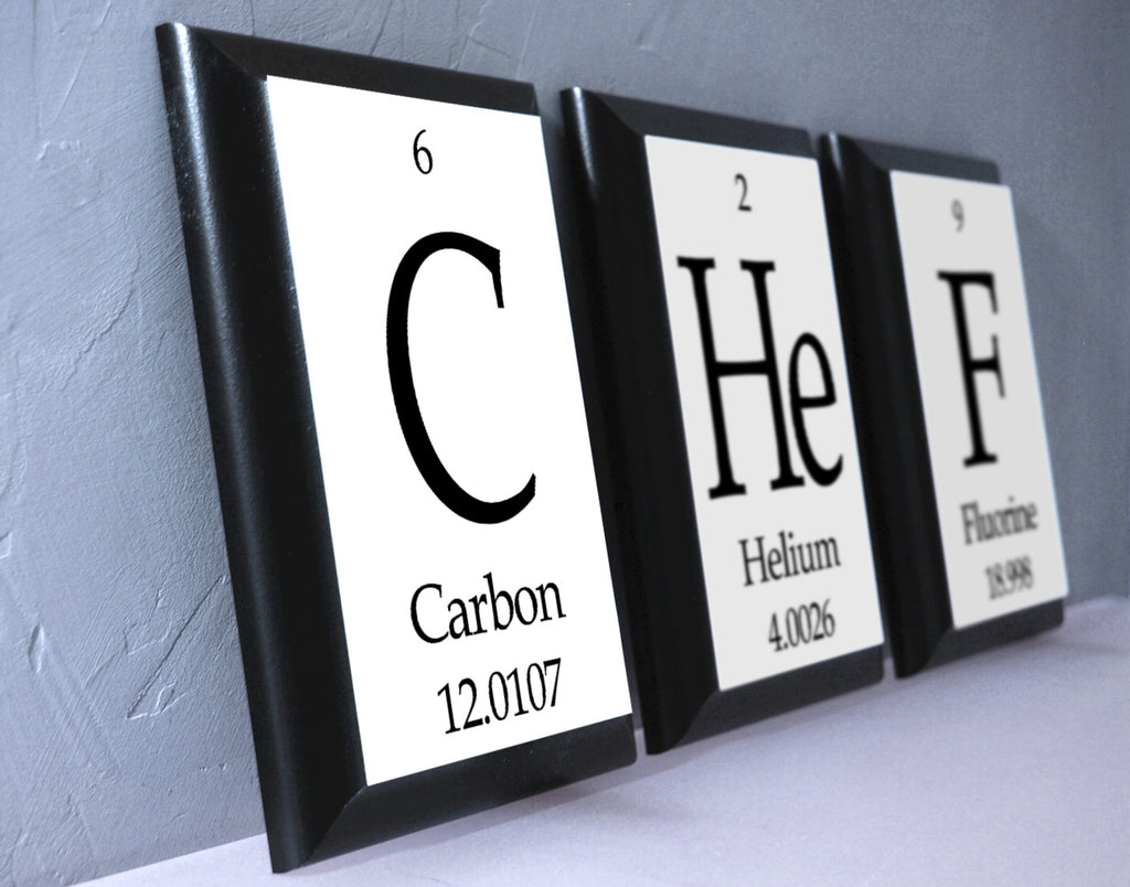 chef periodic table framed 3 piece wall plaque set geeky home decor neurons not included. Black Bedroom Furniture Sets. Home Design Ideas