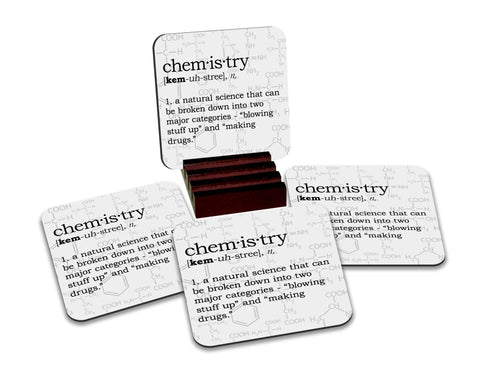 Chemistry Definition Coasters with Display Holder