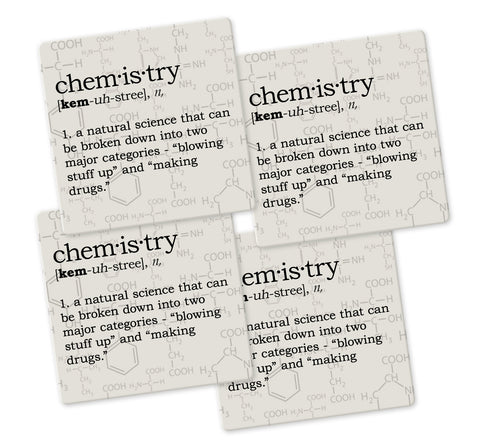 Chemistry Definition Coaster Set - Sandstone Tile 4 Piece Set - Caddy Included