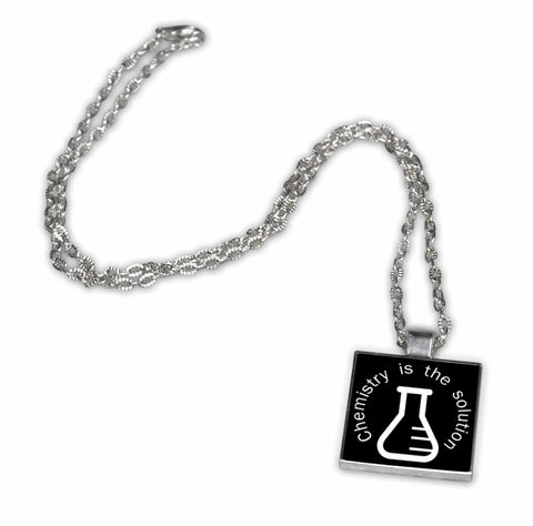 Chemistry is the Solution Pendant Necklace - Funny Chemistry Geek Jewelry
