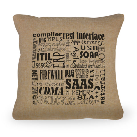 "Computer Terms Pillow Cover  - Natural Color  - Zipper Enclosure - 18""x18"""
