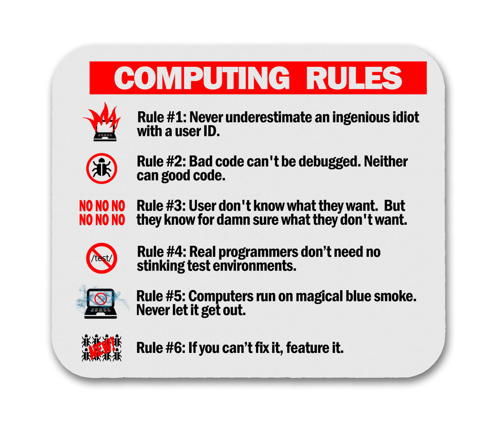 Computing Rules Funny Mouse Pad For Computer Geeks and Nerds