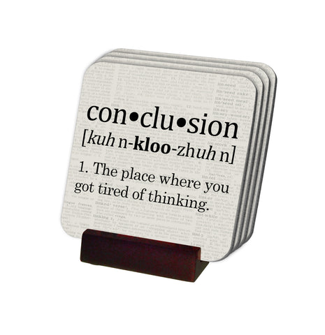Conclusion Definition Coasters with Display Holder