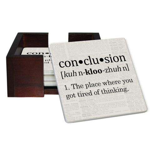 Conclusion Definition Coaster Set - Sandstone Tile 4 Piece Set - Caddy Included