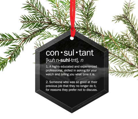 Consultant Definition Funny Glass Christmas Ornament