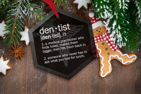 Dentist Definition Funny Glass Christmas Ornament