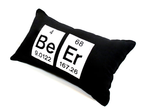 Beer Periodic Table of Element Embroidered Pillow
