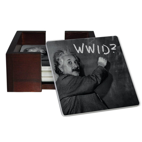 What Would Einstein Do? Coaster Set - Sandstone Tile 4 Piece Set - Caddy Included