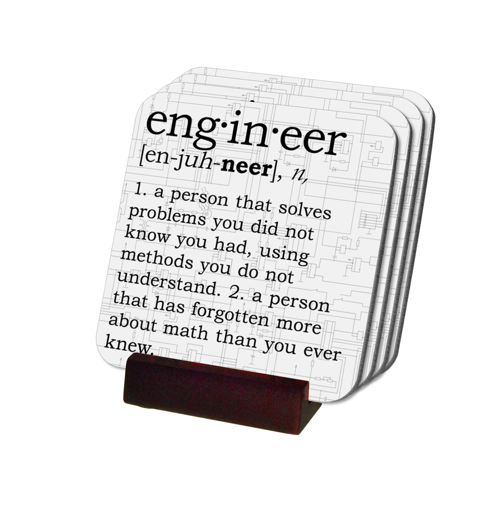 Engineer Definition Coasters with Display Holder
