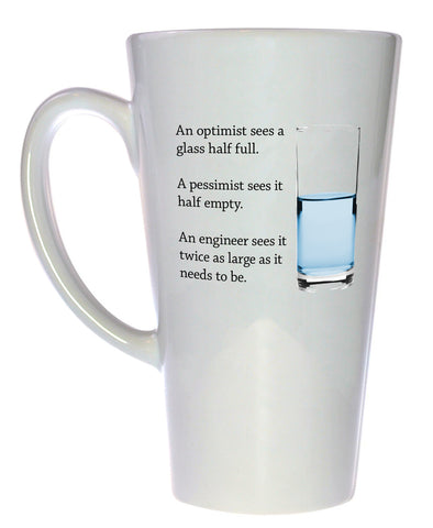 Engineer Glass of Water Coffee or Tea Mug, Latte Size