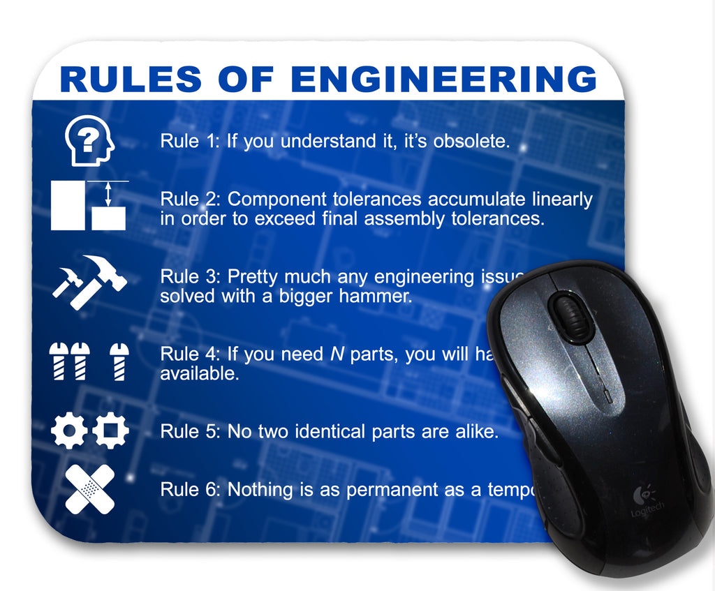 Rules of Engineering Definition Mouse Pad