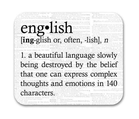 English Definition Funny Quote Mouse Pad