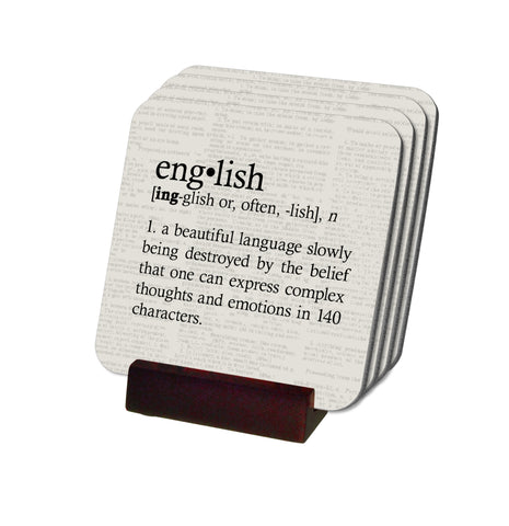 Definition of English Coasters with Display Holder