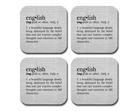 English Definition Neoprene Coaster Set