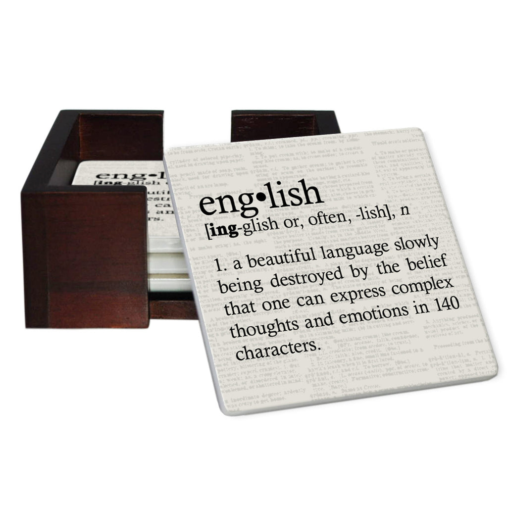 English Definition Coaster Set - Sandstone Tile 4 Piece Set - Caddy Included