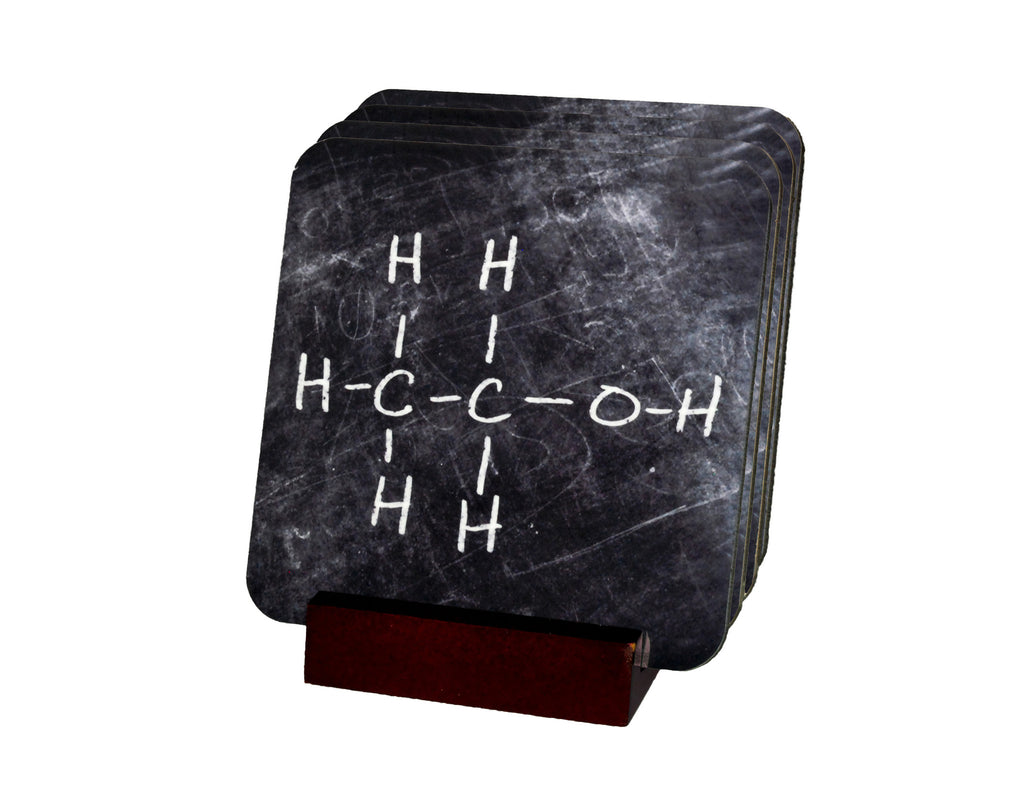 Ethanol Molecule Coasters with Display Holder