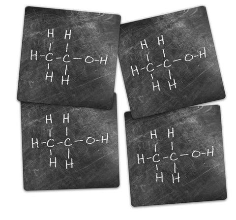 Ethanol Alcohol Molecule Coaster Set - Sandstone Tile 4 Piece Set - Caddy Included