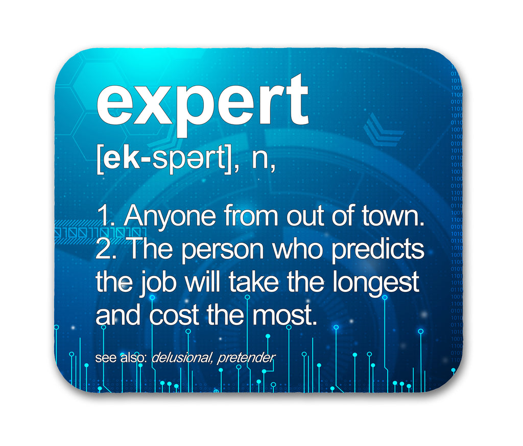Expert Definition Funny Mouse Pad For Computer Geeks and Nerds