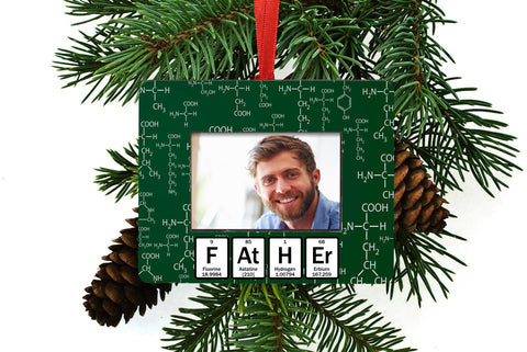Father Periodic Table of Element Christmas Tree Ornament / Picture Frame