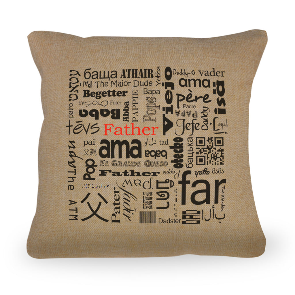 "Father in Different Languages Pillow Cover with Zipper Enclosure - 18""x18"""