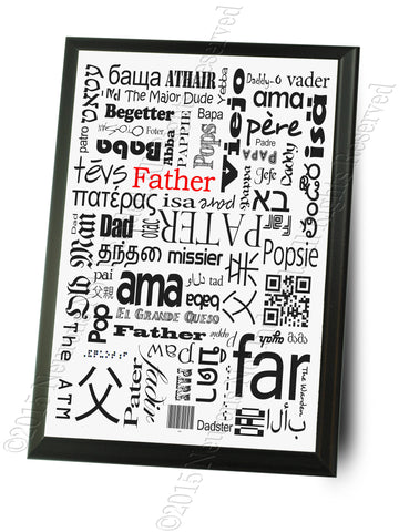 Father in Many Languages Fathers Day Typography Wall Plaque