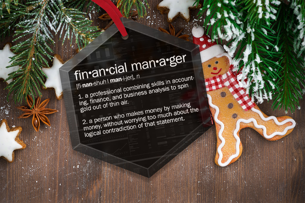 Financial Manager Definition Funny Glass Christmas Ornament