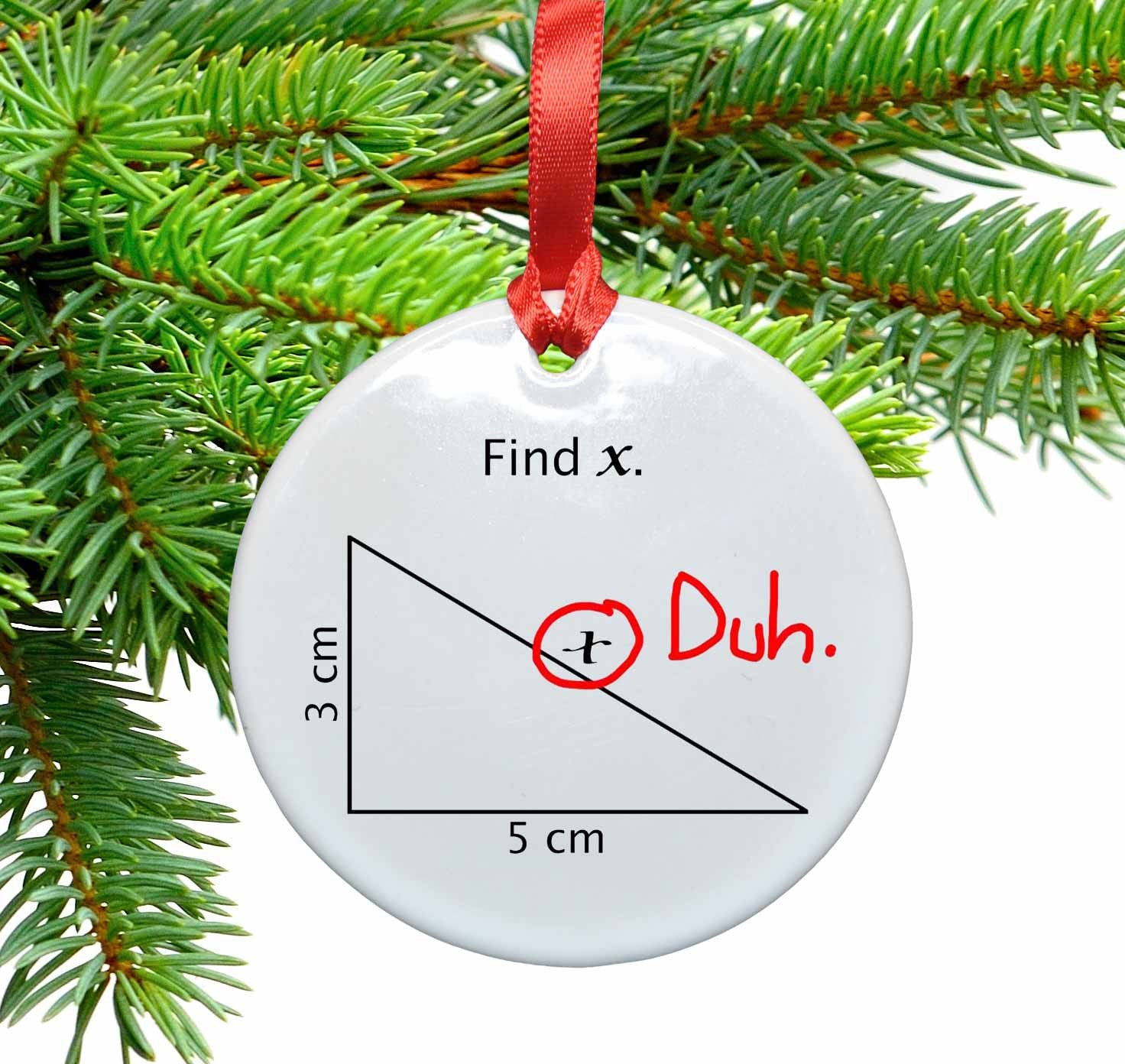 Math Find X Funny Christmas Tree Ornament – Neurons Not ...