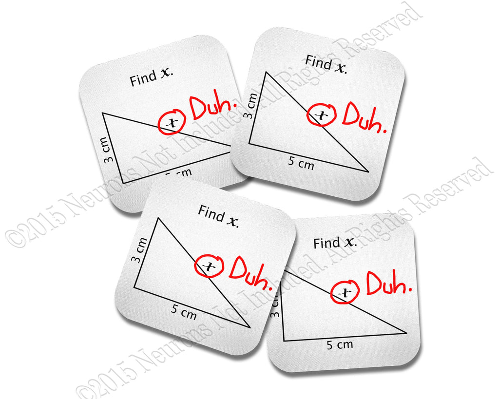 Find X Funny Math  Coasters Neoprene 4 Piece Set