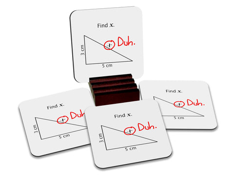 Find X Math Coasters with Display Holder