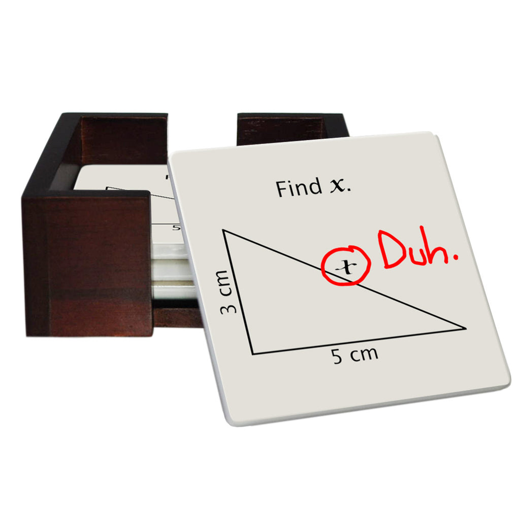 Find X Mathematic Coaster Set - Sandstone Tile 4 Piece Set - Caddy Included