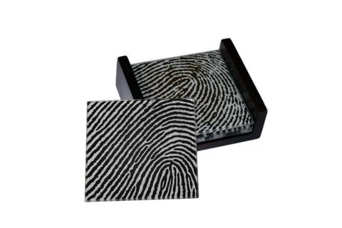 Fingerprint Images - 4 Piece Glass Coaster Set - Caddy Included