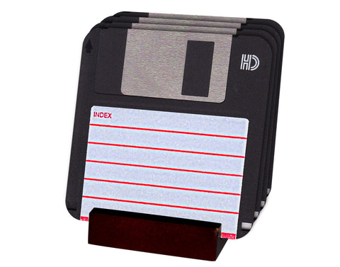 Floppy Disk Coasters with Display Holder