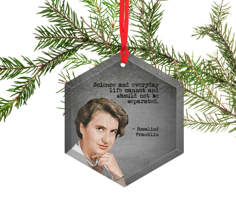 Rosalind Franklin Glass Christmas Ornament