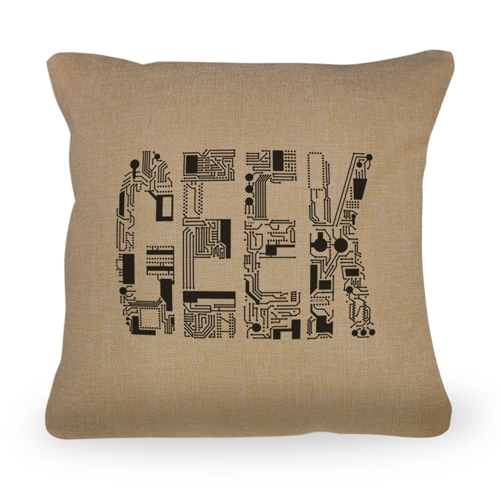 "Geek Circuit Pillow - Natural Color - Zipper Enclosure - 18""x18"""