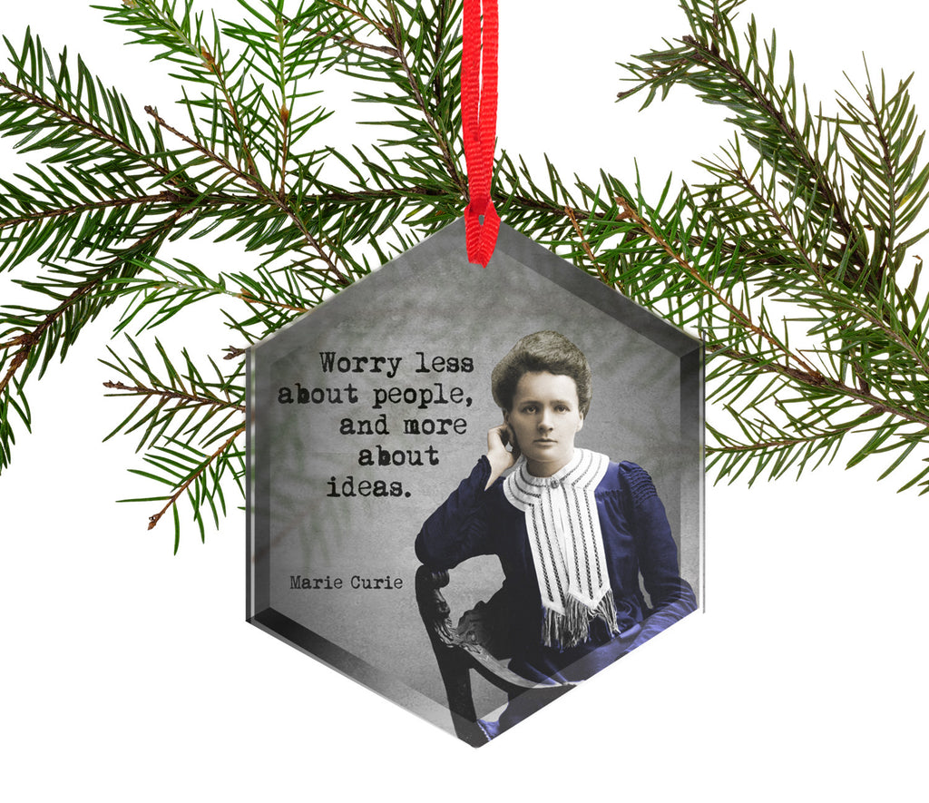 Famous Scientists Marie Curie Glass Christmas Ornament