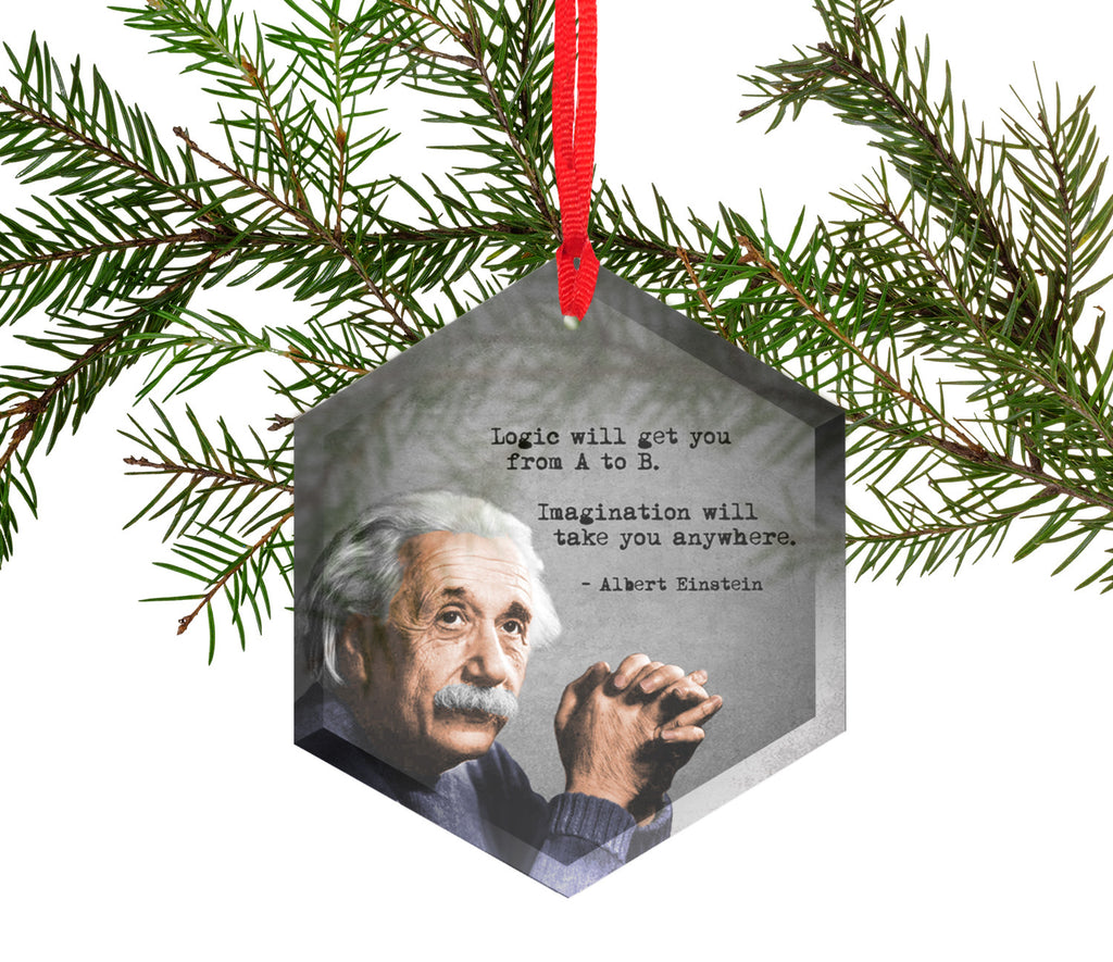 Famous Scientists Albert Einstein Glass Christmas Ornament